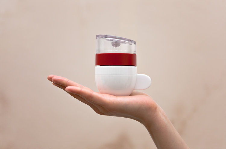 In 30 seconds, it will turn your water and grounds into a very strong shot of coffee