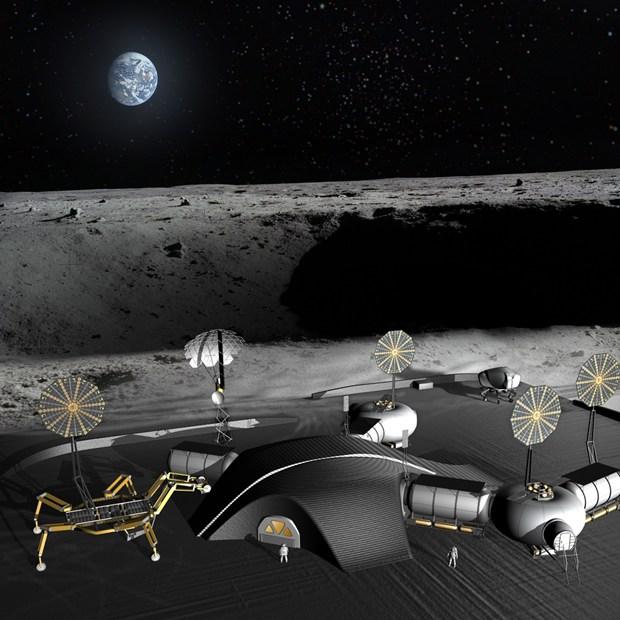 3D concept illustration of NASA JPL's first lunar base 1
