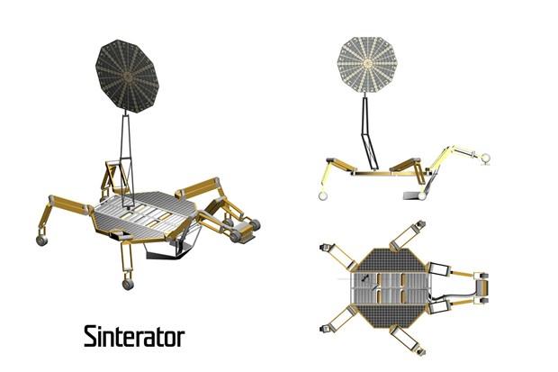 3D concept illustration of NASA JPL's Sinterator moon crawler robot