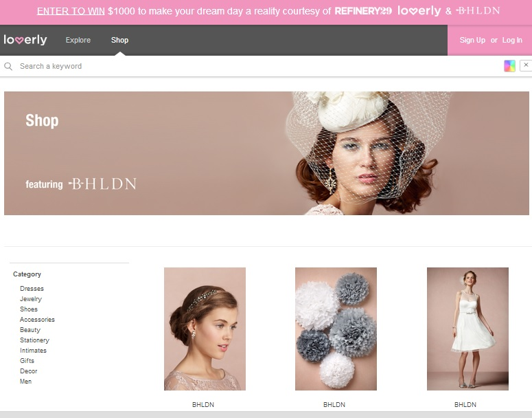Loverly Shopping page