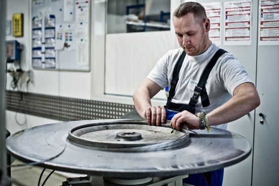 A worker at the plant in Germany