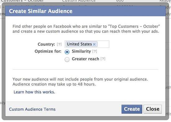 Create Similar Audiene search box on Facebook