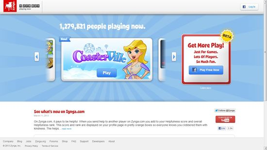 Zynga's new gaming site eliminates the need to login using your Facebook account and password