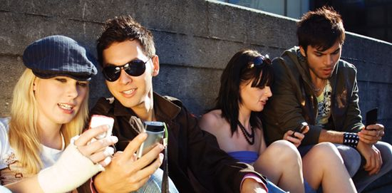 Millennials using mobile devices