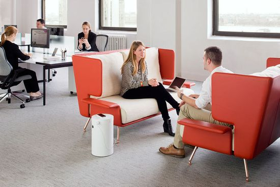 Knoll Activity Spaces include a number of casual workspaces, including semi-secluded seating for open office plans. This image shows other pieces from the collection, which weren't designed by Antenna