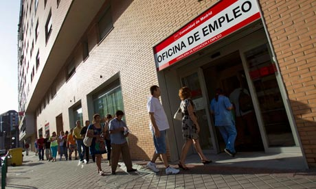 Scene of unemployed workers outside a Spanish unemployment office in Madrid