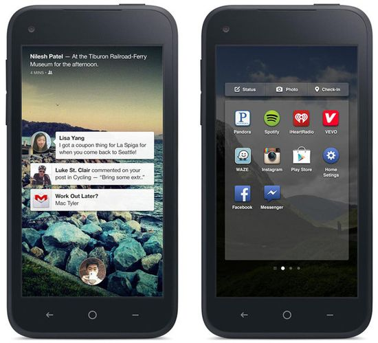 The Home lock screen shows incoming messages and e-mails against a backdrop of full-screen status updates. On the right is the built-in app launcher