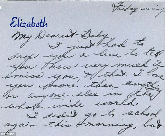 Handwritten love note written by the late actress Elizabeth Taylor