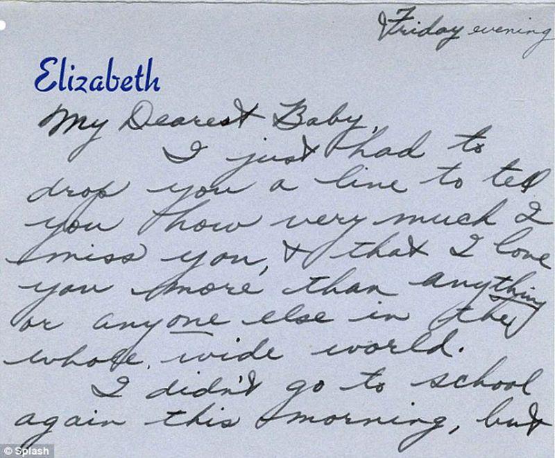 Handwritten love note written by the late actress Elizabeth Taylor