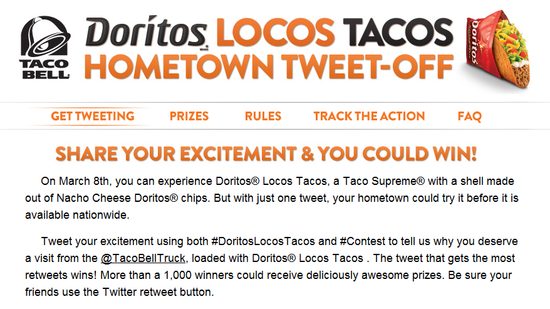Taco Bell's Doritos Locos Taco Twitter promotion