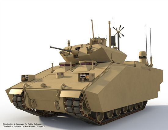 Because of the on-board electricity source, the GVC Fighting Infantry Vehicle can also be equipped with electric armor, jammers, or the experimental energy weapons that the Army is currently researching