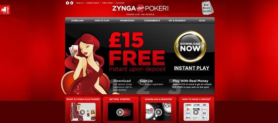Zynga Poker Plus webshite homepage