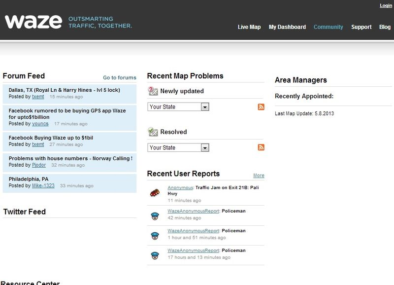 Waze Community page provides news feed from Facebook and Twitter plus place for reporting mapping technical issues and traffic reports from users