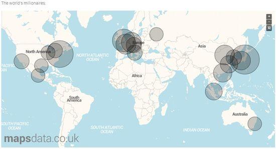 Map of World's Millionaire's