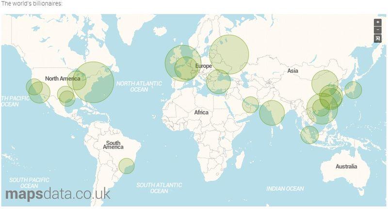Map of World's Billionaire's