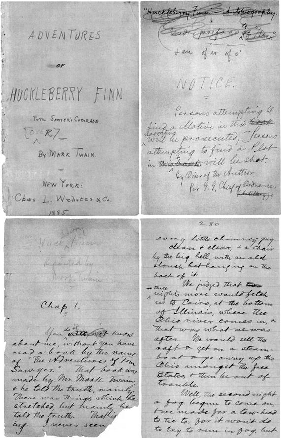 Copy of Mark Twain's handwritten manuscript for his book, 'The Adventures of Huckleberry Finn'