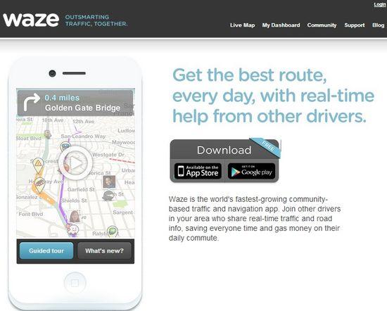 Waze homepage