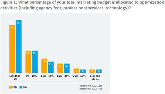What percentage of your total marketing budget is allocated to optimization activities (including agency fees, profl services, technolgy)
