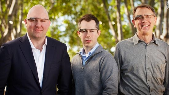 Technology venture capitalists Marc Andreessen, Bill Maris and John Doerr model Google Glass AR glasses
