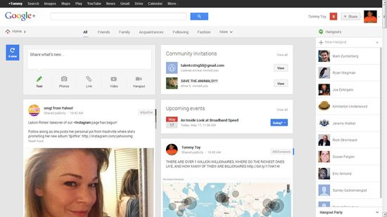 Google+'s homepage provides a Pinterest-like mosaic or columnar views showing updates plus Community Invitations and Upcoming Events and the latest Hangouts