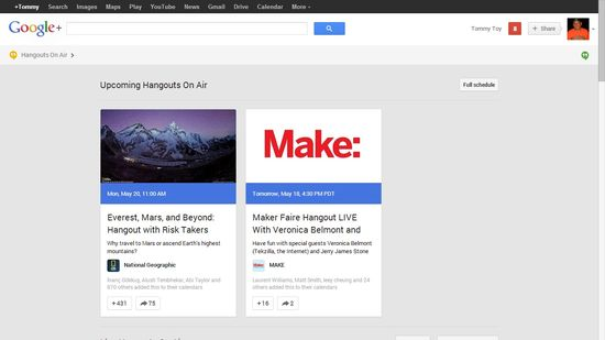 Google+'s new look includes Hangouts that are airing plus the Full Schedule of hangouts