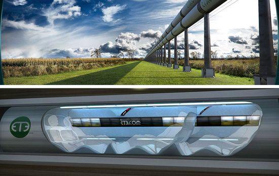 Elon Musk's Hyperloop, a faster than passenger jet, pneumatic tube to transport passengers on Earth