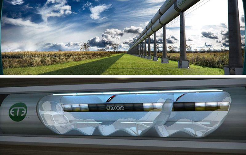 Elon Musk's Hyperloop, a faster than passenger jet, pneumatic tube to transport passengers on Earth