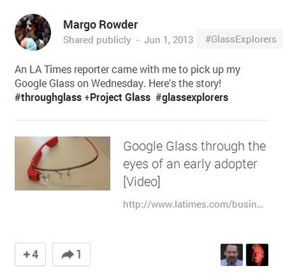 Margo Rowder post on Google+ 1