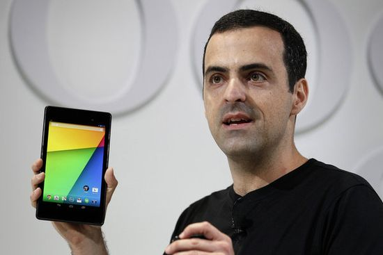 Hugo Barra, vice president of product management for Android at Google Inc., displays the new Nexus 7 tablet. (Tony Avelar, Bloomberg, July 24, 2013)