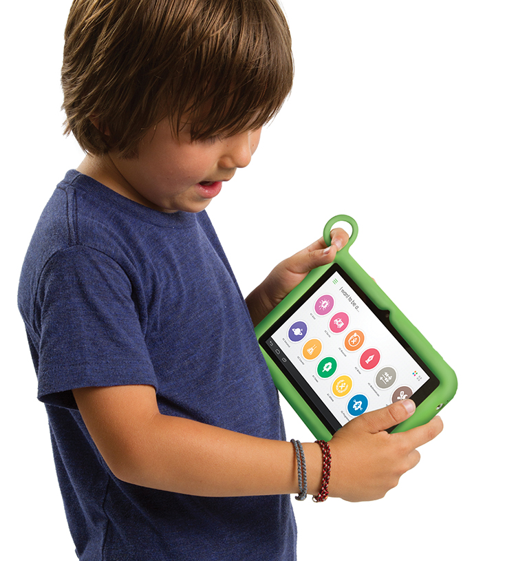 The XO has a lot of the bulbous, bright green colors of the XO-1.  It's durable, accessible tablet designed by Yves Béhar, who also designed the Jawbone products like the Jambox and Jawbone Up