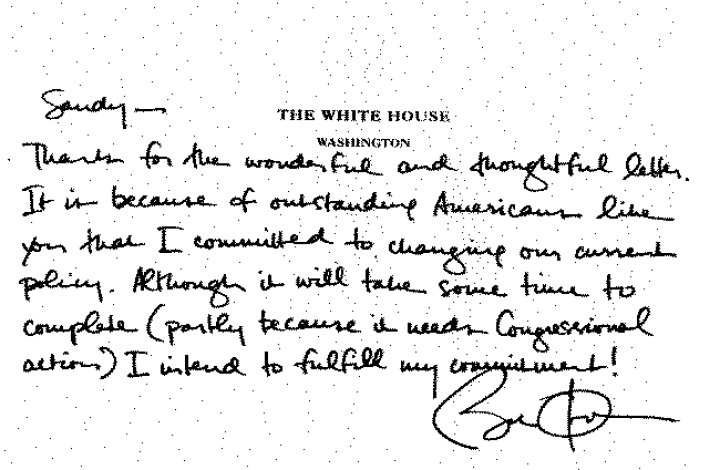 Handwritten letter from President Barack Obama to Second Lieutenant Sandy Tsao on declaring that he was gay