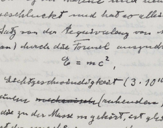 Albert Einstein's handwritten physics paper on the Special Theory of Relativity