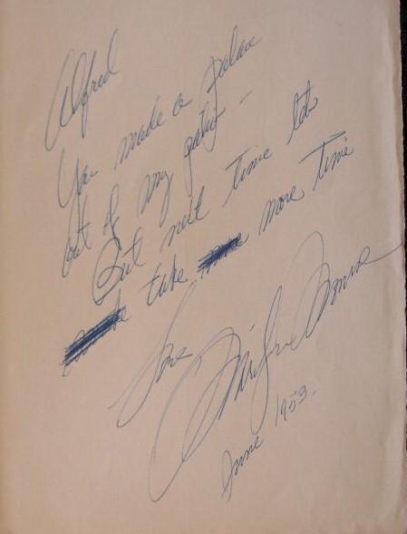 A handwritten note to Alfred written by Marilyn Monroe in June 1953