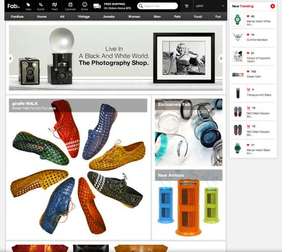 Fab's new web and mobile apps now incl a billboard that constantly rotates out products based on your personal purchase and like history, and a 'trending' ticker that reflects what's popular right now