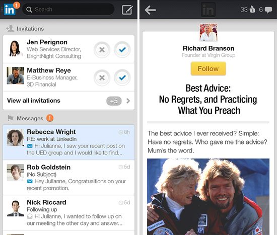 New LinkedIn mobile app for iOS and Android users