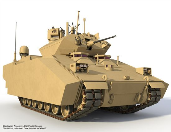 The GVC Fighting Infantry Vehicle can also switch to pure electric mode for short periods of time. This would eliminate significant heat traces from the battlefield and lets the tank operate much more quietly at night