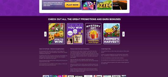 Zynga Casino Plus website homepage 2