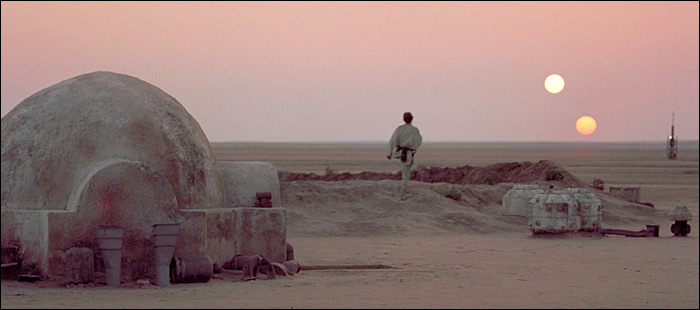 Scene from Star Wars with the character Luke Skywalker in Tatooine