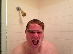 Robert Scoble, an obsessive tech punsir, wrote a glowing review and said, 'I will never live a day without them.' He then showed off a picture of himself showering while wearing the glasses