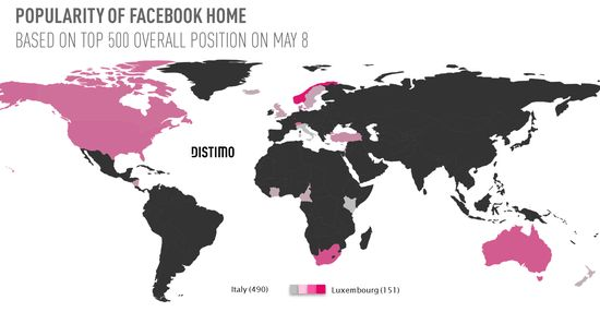 Facebook Home App Worldwide Popularity Map - Based On Top 500 Apps - Distimo