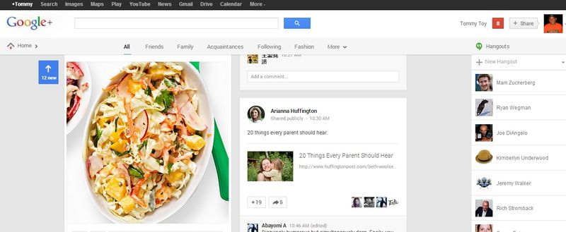 Google+'s new look include menu's that are hidden (left), moving the mouse cursor to the Home or G+ icon displays the hidden menu (right)