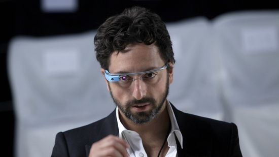 Google Co-Founder Sergey Brin wears a pair of Project Glass augmented reality glasses