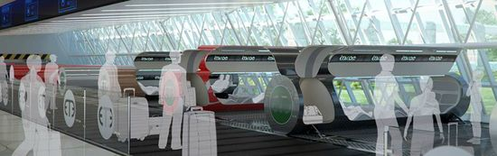 Artists conception of an underground passenger terminal for the futuristic ET3 highspeed pneumatic tube transportation system