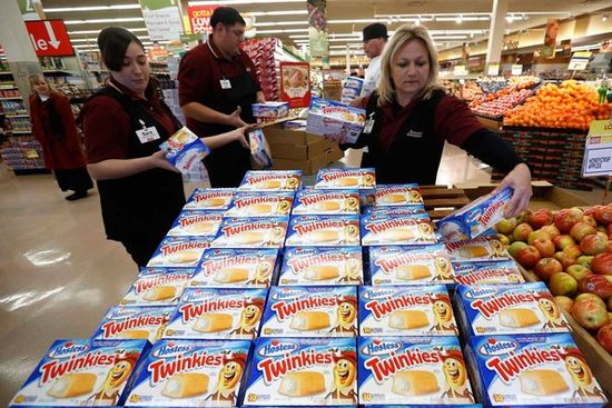 One of the last shipments of Twinkies made by Hostess Brands was unpacked at a Jewel-Osco grocery store in Chicago on Dec. 11. Hostess has sold the snack brand and four others for $410 million