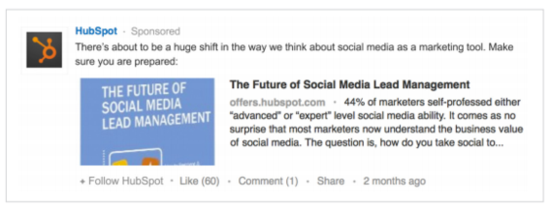 Example of a LinkedIn Sponsored Update by Hubspot