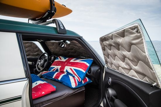 The Mini Clubman Camper turns your Mini Cooper into a more than adequate place to sleep when you are on the road. Photo by BMW Group