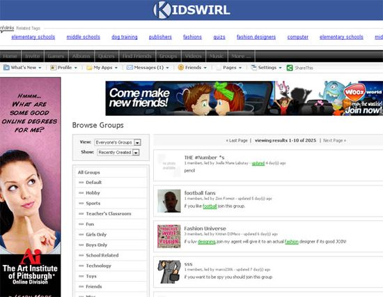 Kidswirl website