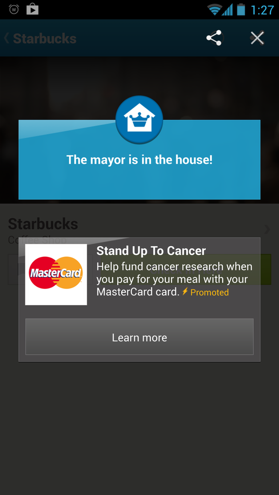 Foursquare popup ads appear whenever users check-in to a place