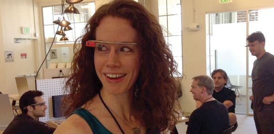 Margo Rowder puts on her new pair of Google Glass glasses