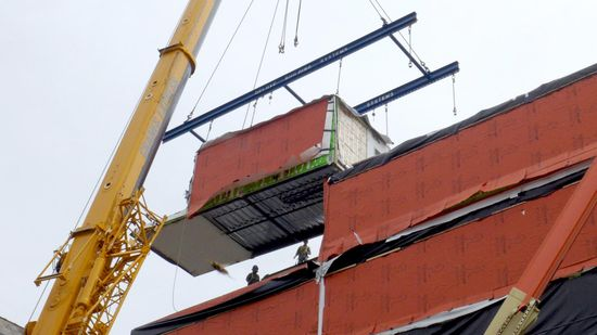 The Stack pre-fabricated units put in place by crane